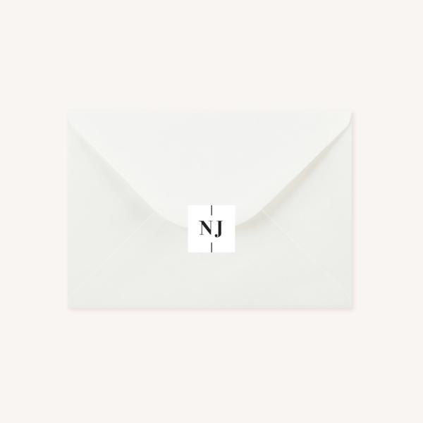 Étiquette adhésive enveloppe blanche mariage papeterie épuré noir blanc neutre unisexe élégant
