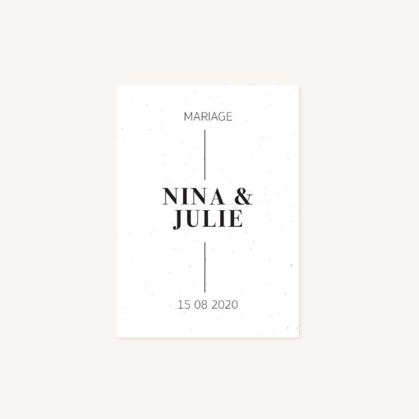 Faire-part mariage papeterie épuré noir blanc neutre unisexe élégant