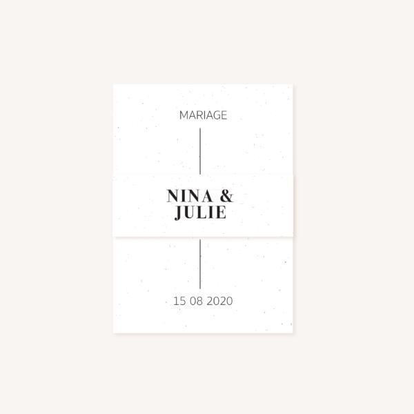 Bandeau mariage faire-part papeterie épuré noir blanc neutre unisexe élégant