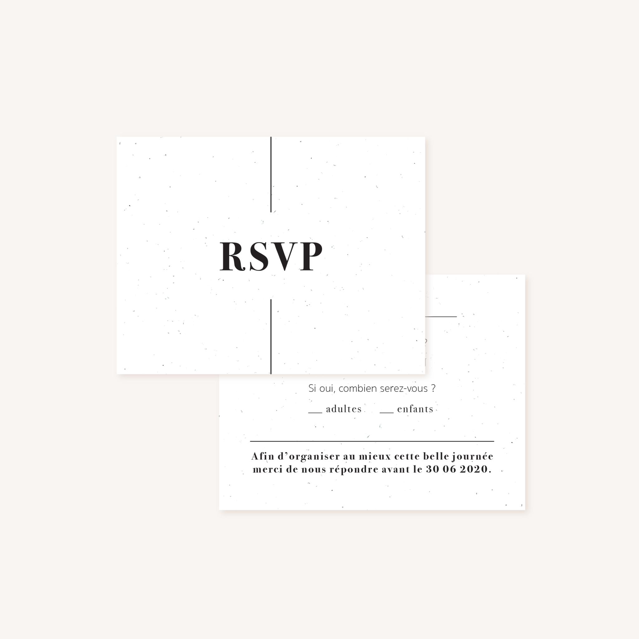 RSVP mariage faire-part papeterie épuré noir blanc neutre unisexe élégant