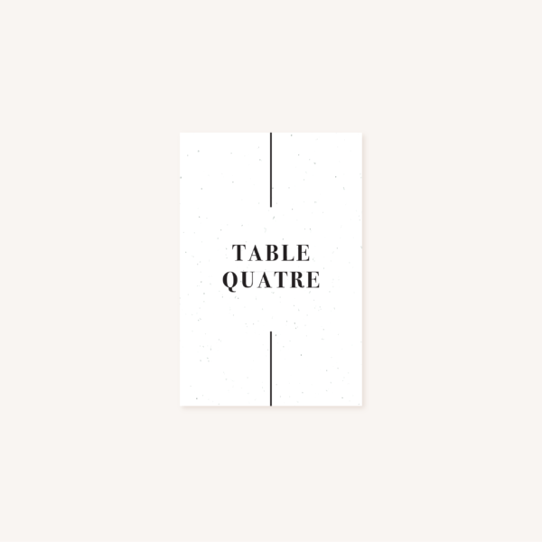 Nom de table mariage faire-part papeterie épuré noir blanc neutre unisexe élégant