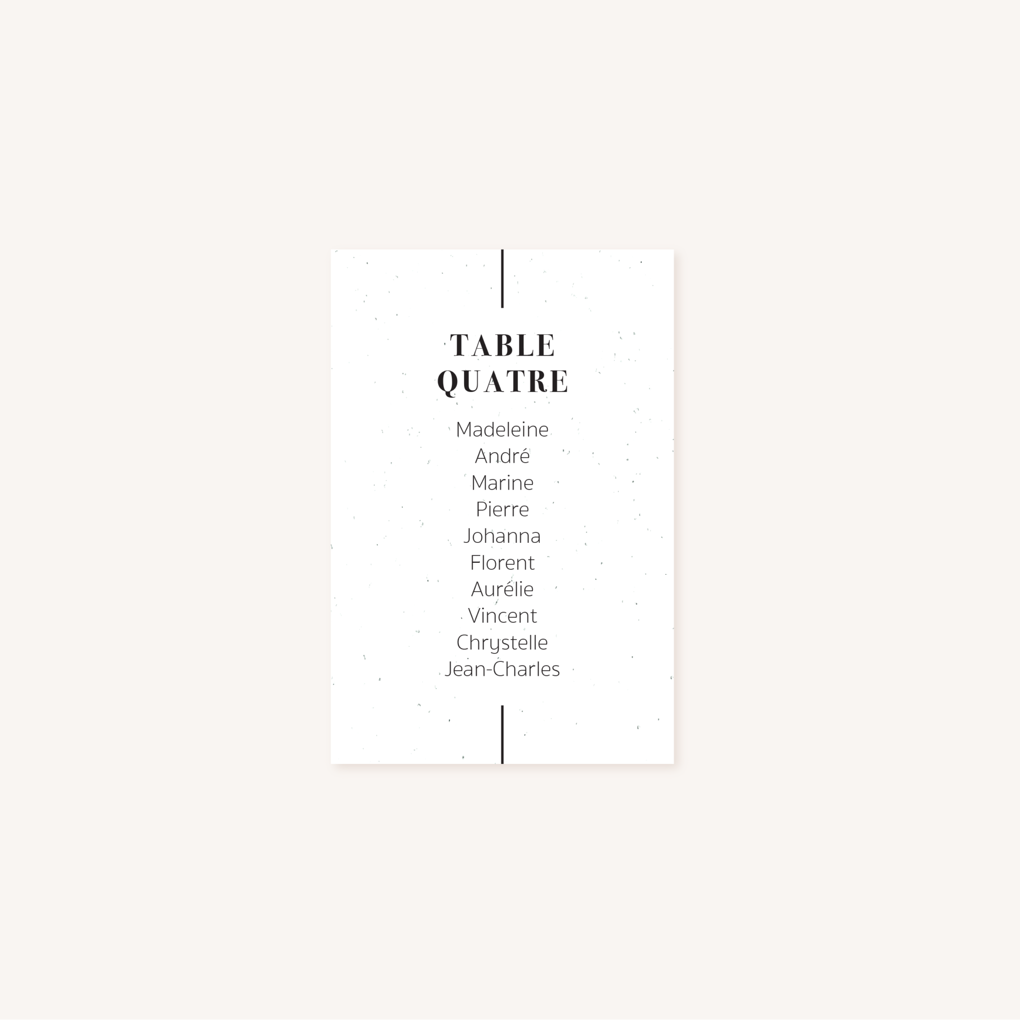 Plan de table mariage faire-part papeterie épuré noir blanc neutre unisexe élégant