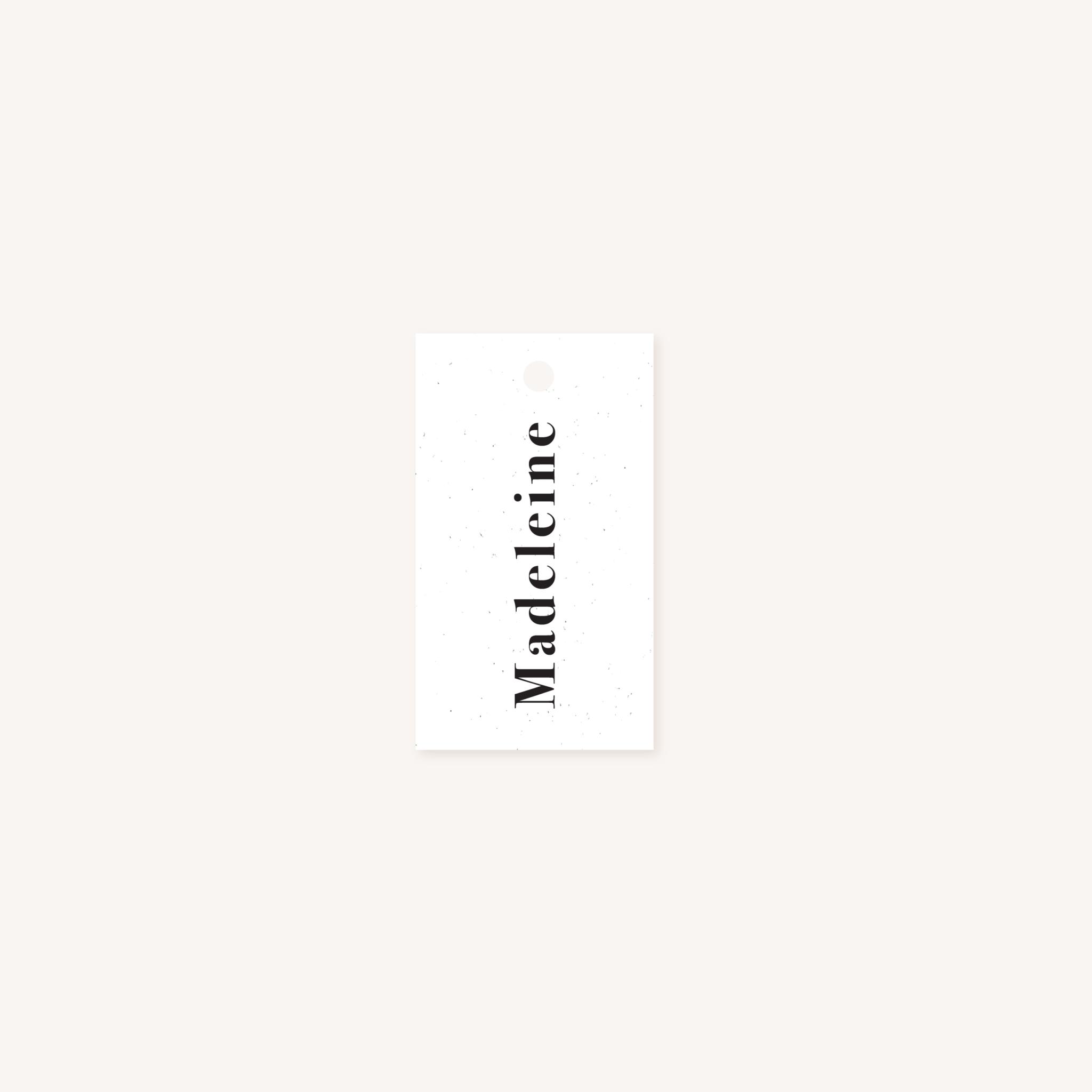 Étiquette nom mariage faire-part papeterie épuré noir blanc neutre unisexe élégant