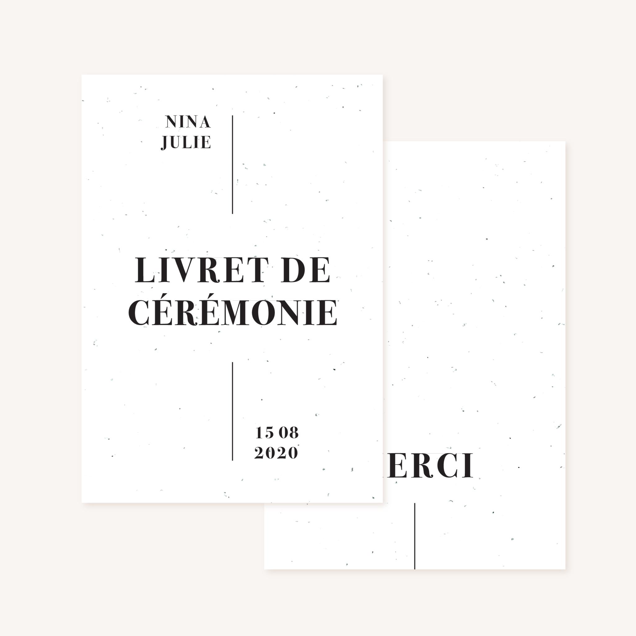 Livret de cérémonie mariage faire-part papeterie épuré noir blanc neutre unisexe élégant