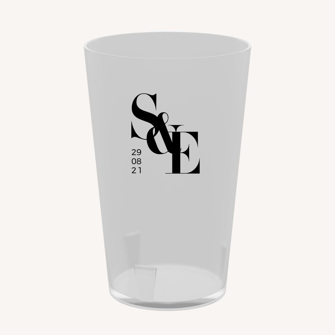 Gobelet réutilisable black and white noir et blanc moderne lettering innovant graphique