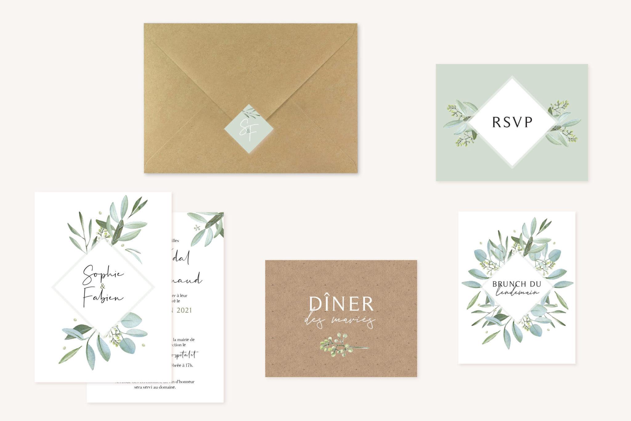 Collection faire-part mariage olivier nature blanc vert kraft champêtre