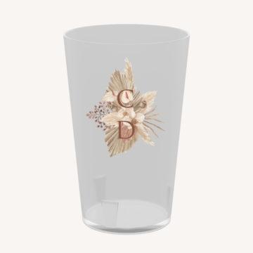 Gobelet pampa réutilisable bohème boho boho chic Fleurs séchées floral mariage ocre terracotta