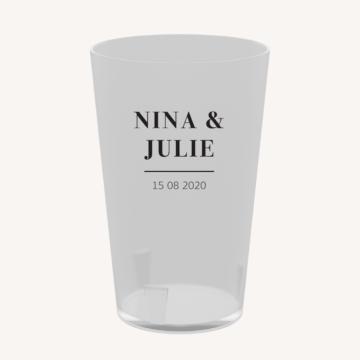 Eco-cup mariage faire-part papeterie épuré noir blanc neutre unisexe élégant