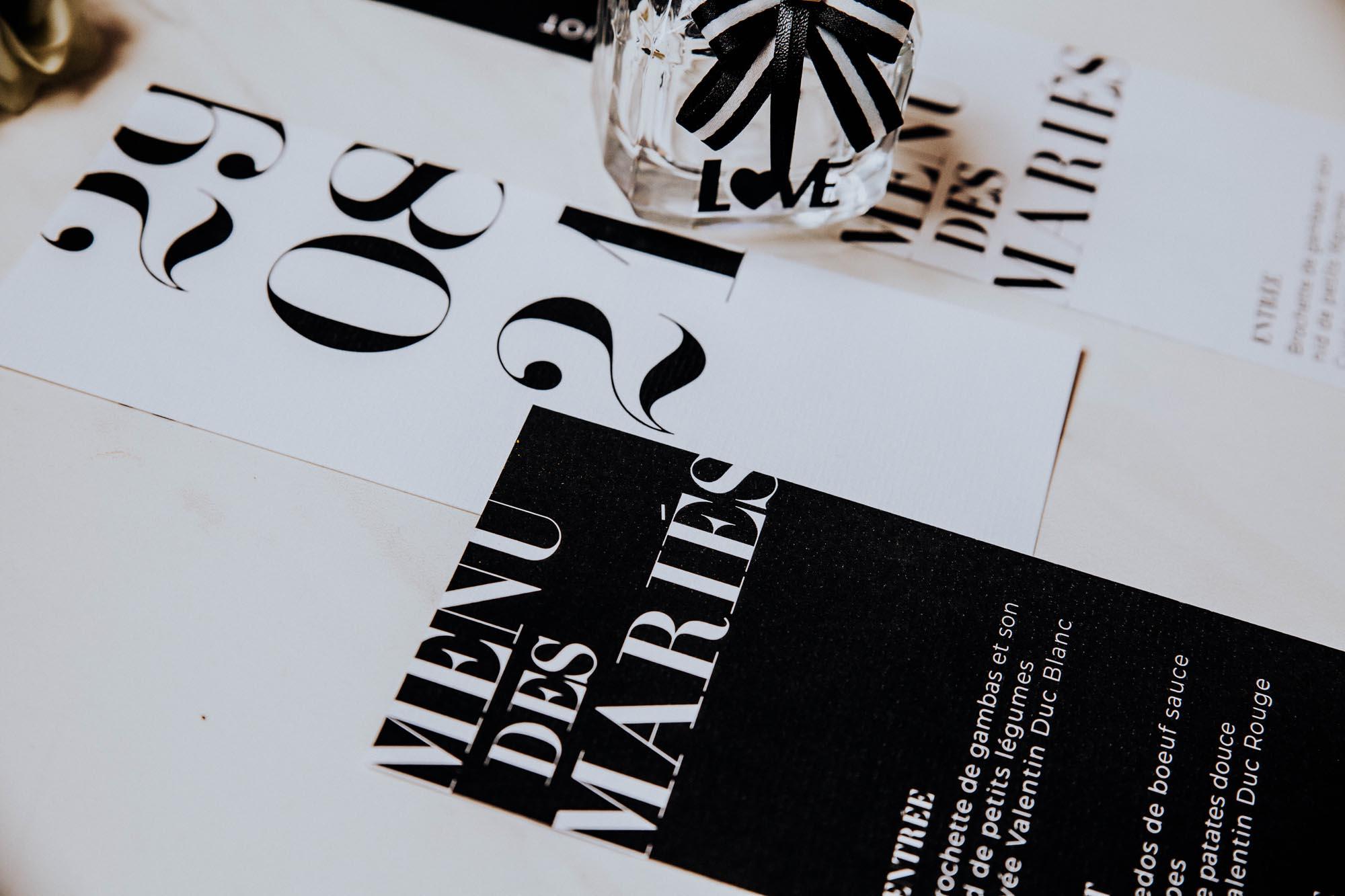 Menu individuel black and white noir et blanc moderne lettering innovant graphique