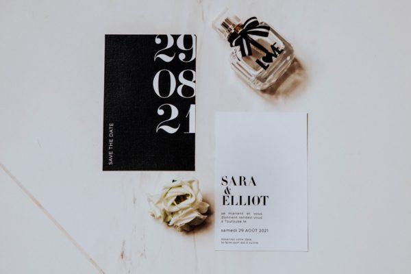 Save the date black and white noir et blanc moderne lettering innovant graphique