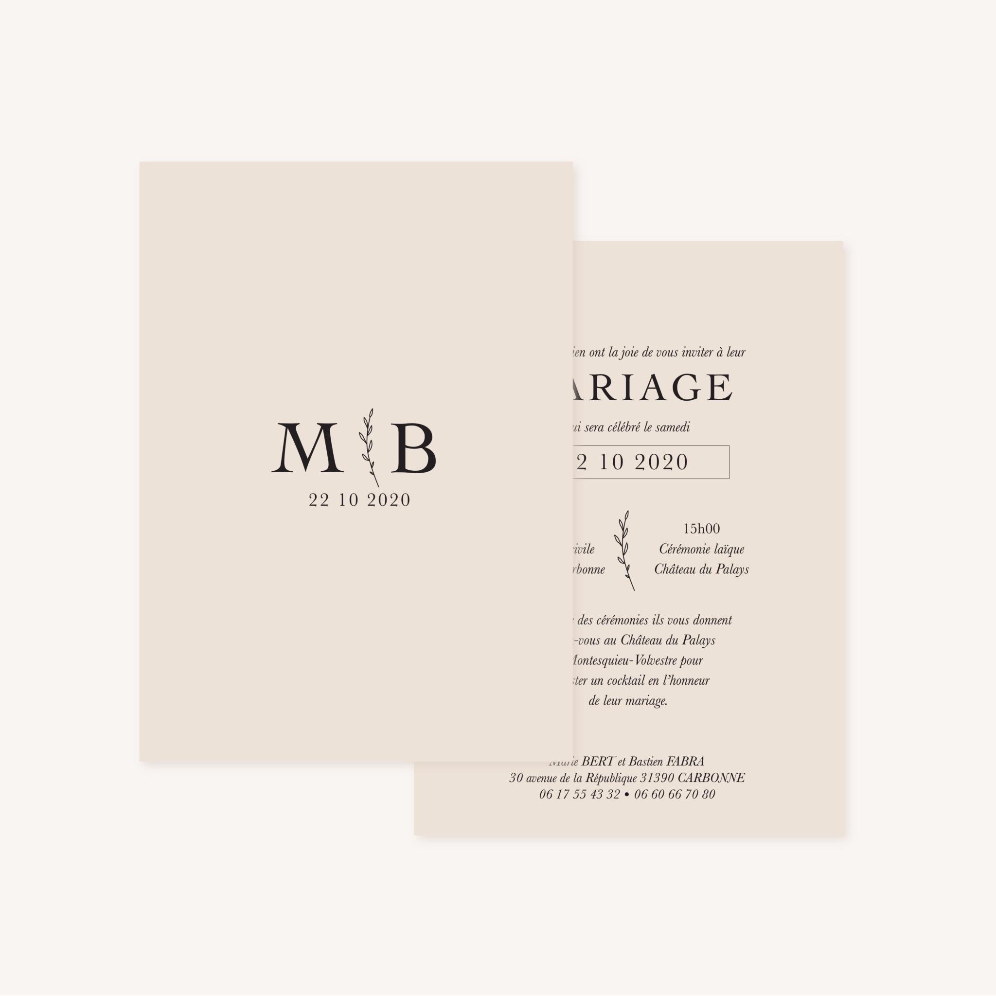 Faire-part mariage nude rose gris beige élégant sobre
