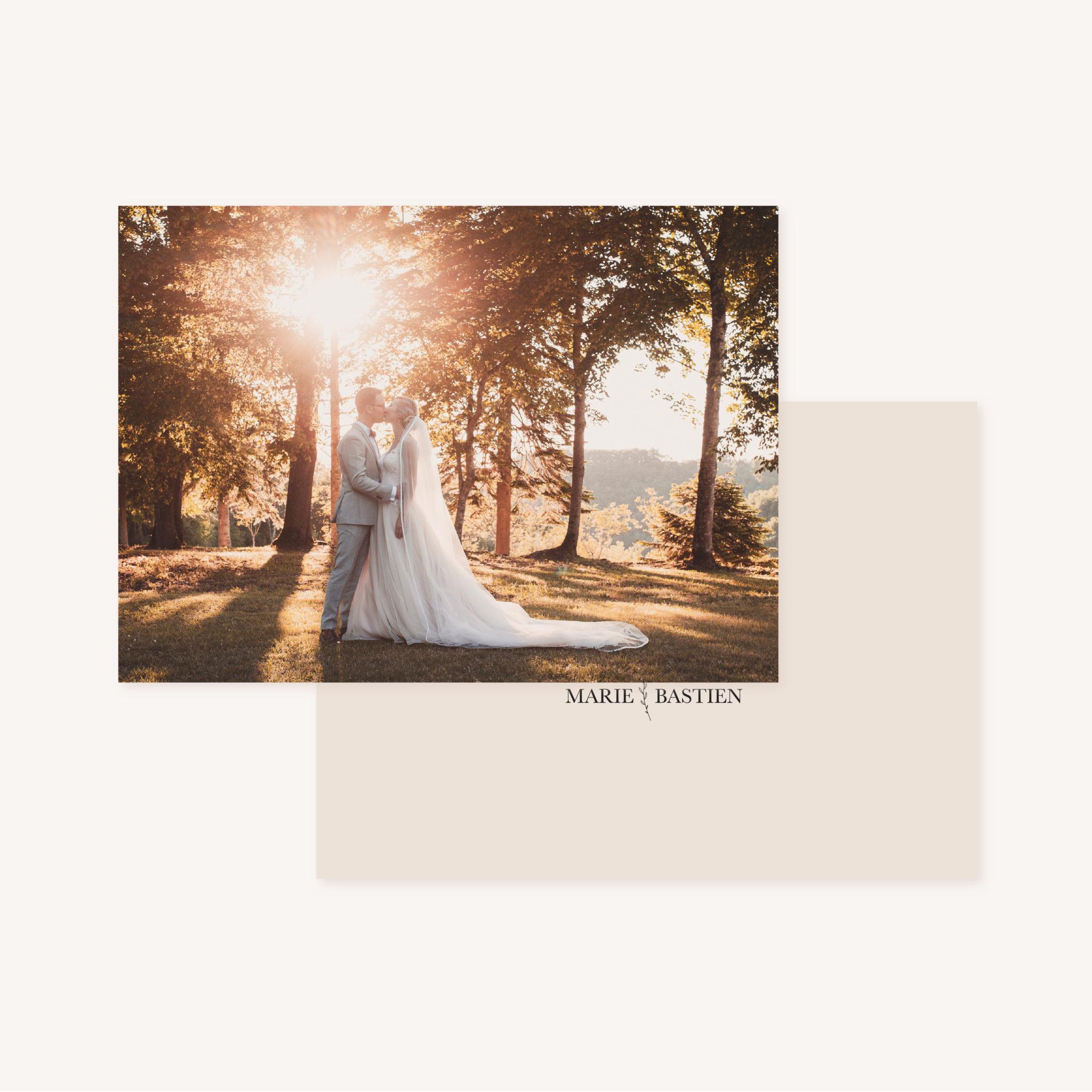 Remerciements mariage nude rose gris beige élégant sobre