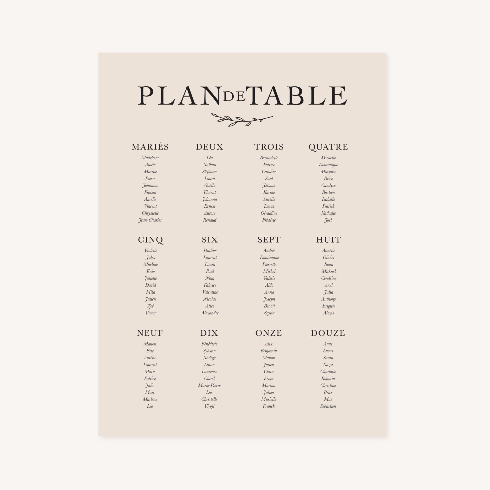 Panneau plan de table mariage nude rose gris beige élégant sobre