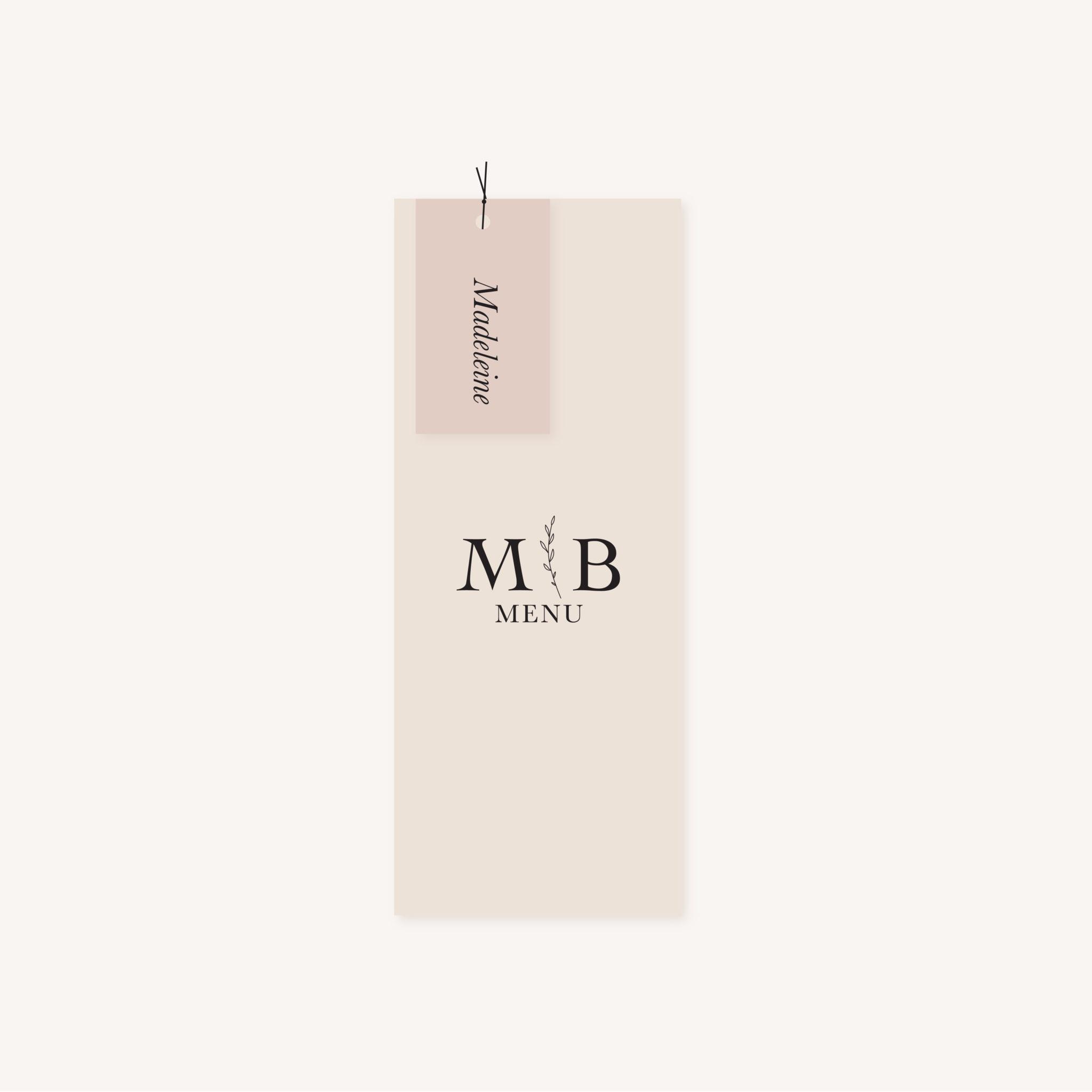 Étiquette nom mariage nude rose gris beige élégant sobre