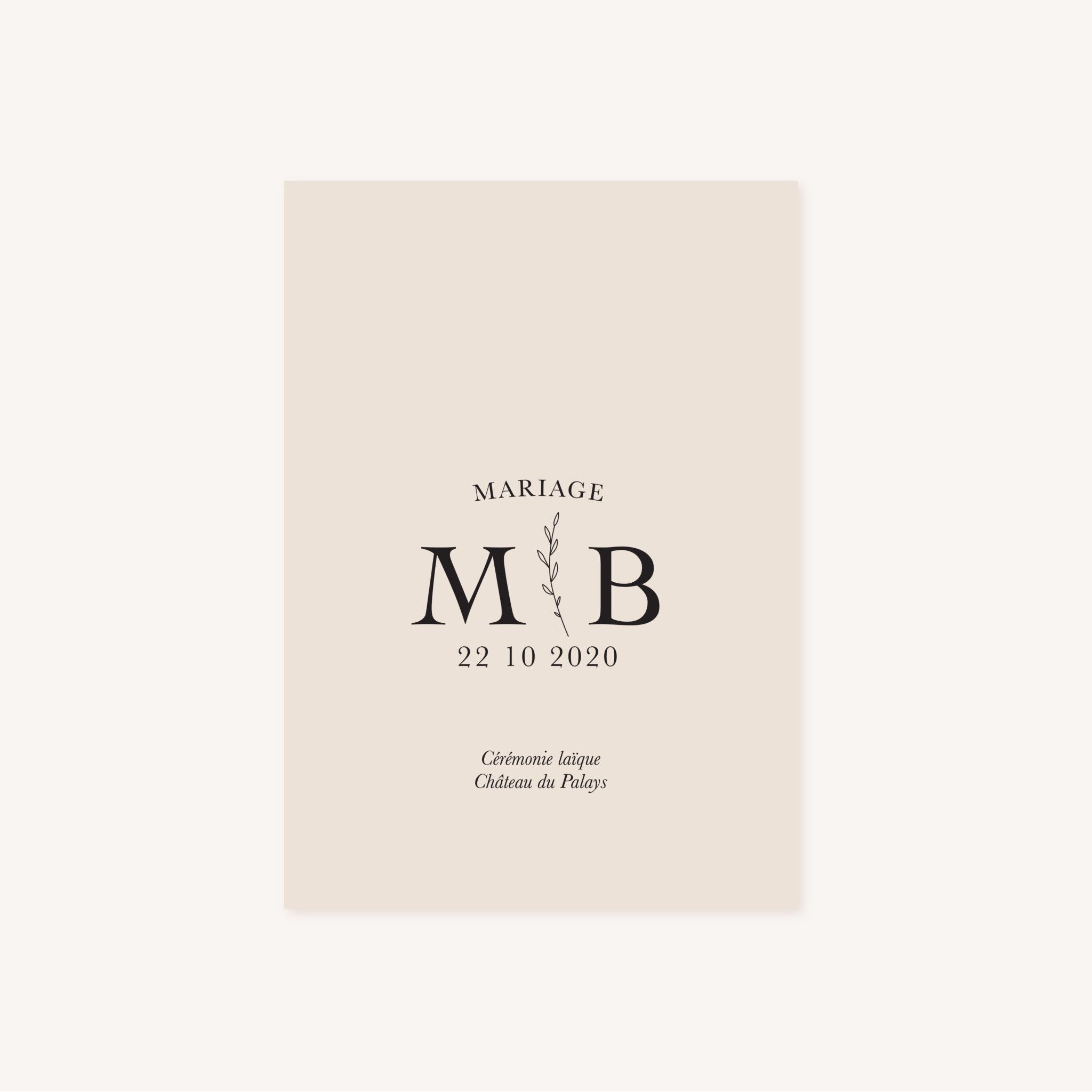 Livret de cérémonie mariage nude rose gris beige élégant sobre