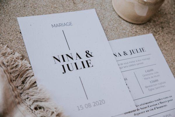 Faire-part mariage épuré blanc noir ligne graphique
