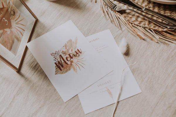 Menu pampa bohème boho boho chic Fleurs séchées floral mariage ocre terracotta