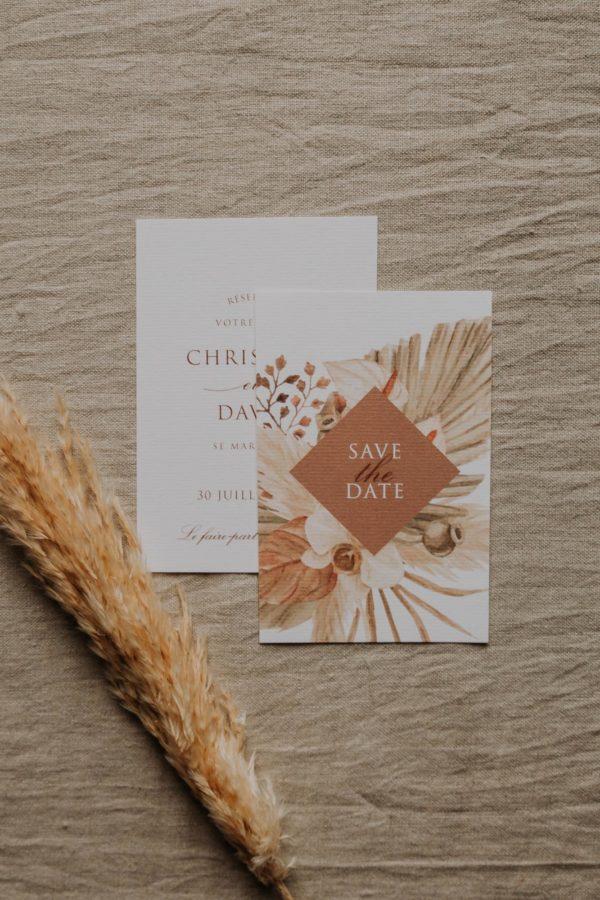 Save the date pampa bohème boho boho chic Fleurs séchées floral mariage ocre terracotta