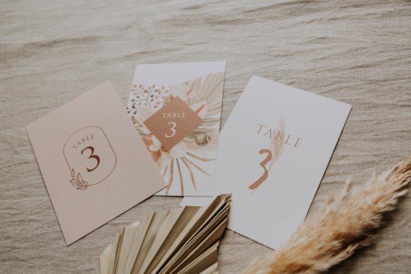 Nom de table pampa bohème boho boho chic Fleurs séchées floral mariage ocre terracotta