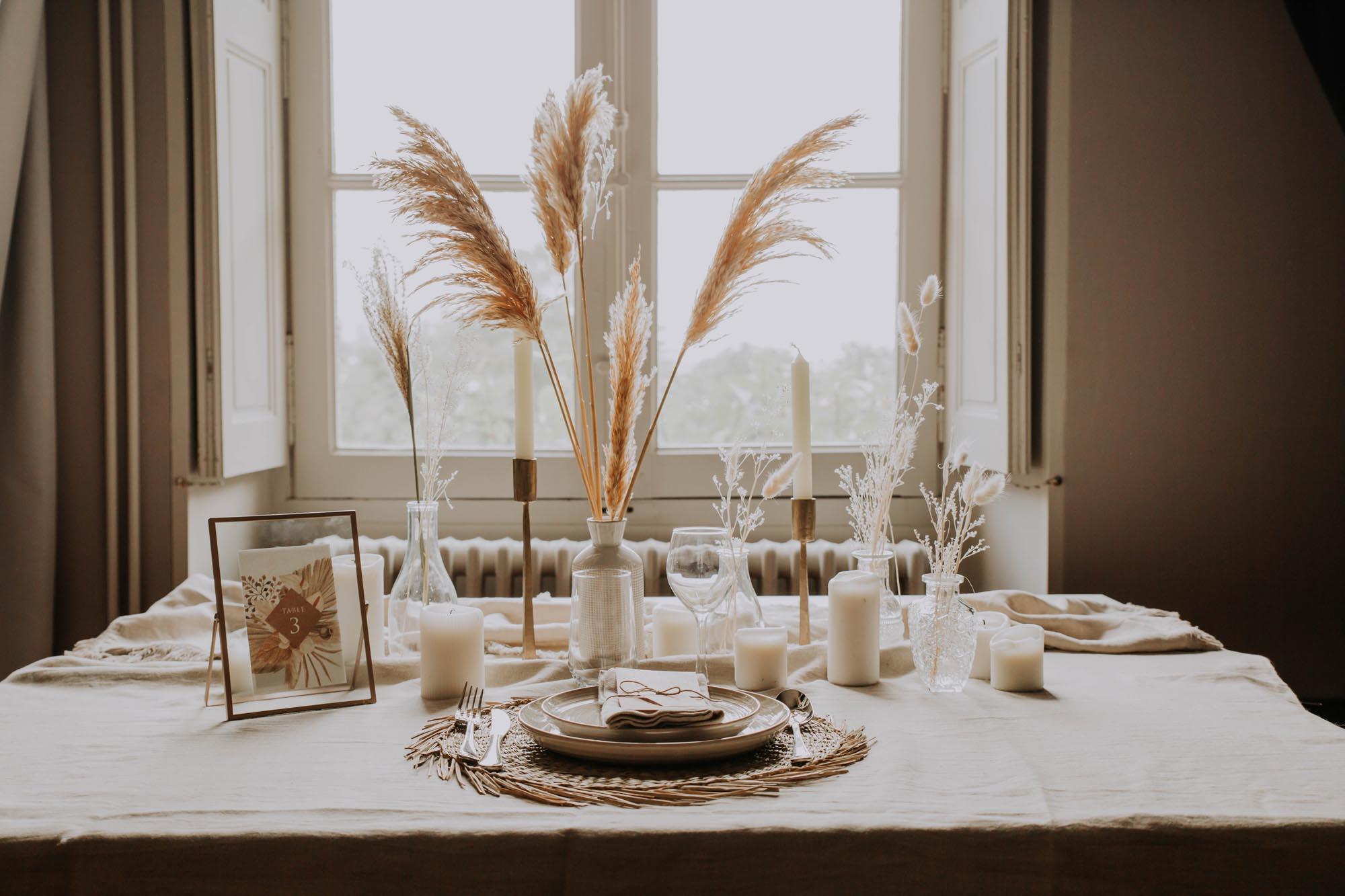 Menu individuel pampa bohème boho boho chic Fleurs séchées floral mariage ocre terracotta