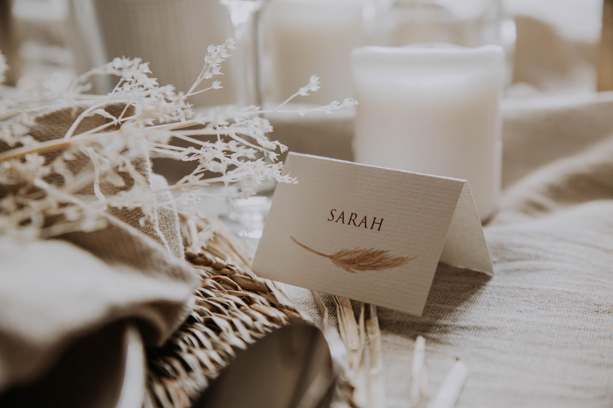 Marque-place pampa bohème boho boho chic Fleurs séchées floral mariage ocre terracotta