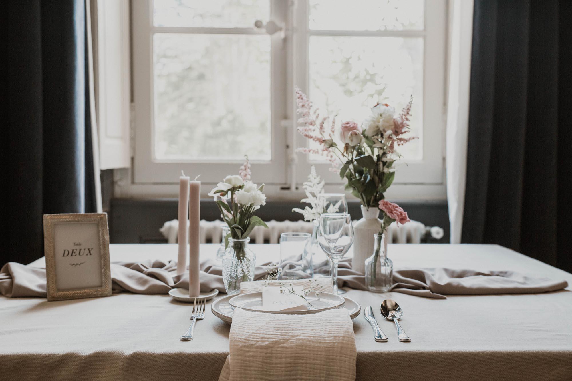 Papeterie mariage nude rose gris beige élégant sobre