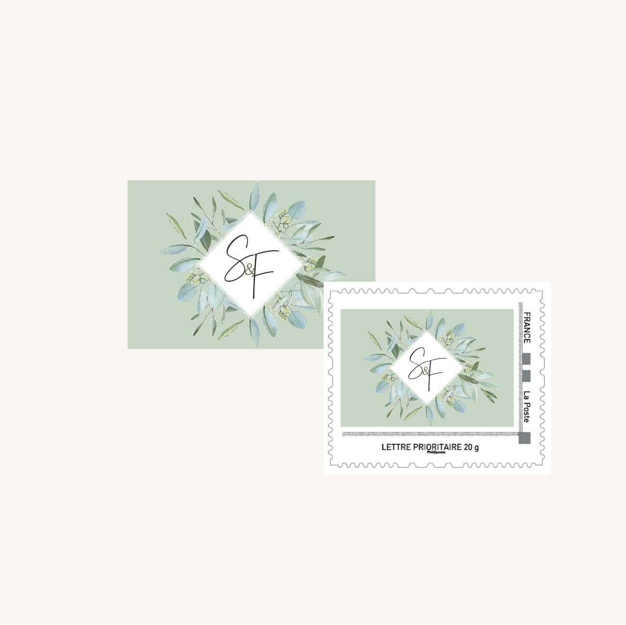Timbre personnalisé mariage olivier nature blanc vert kraft