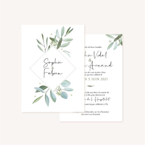 Faire-part mariage olivier nature blanc vert kraft