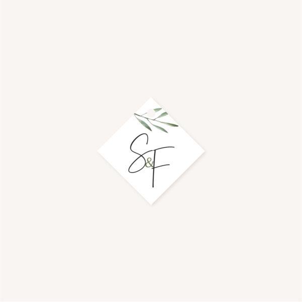 Étiquette papier mariage olivier nature blanc vert kraft