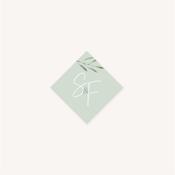 Étiquette adhésive mariage olivier nature blanc vert kraft
