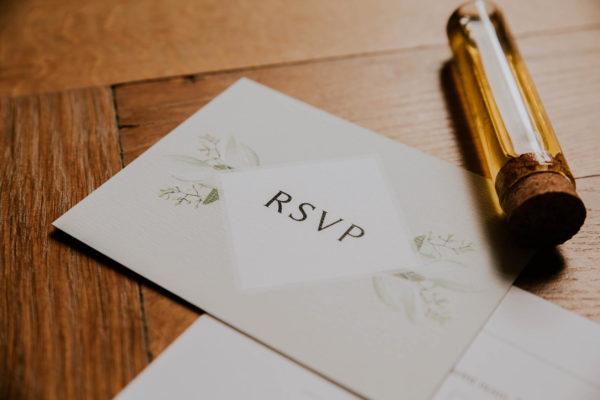 RSVP mariage olivier nature blanc vert kraft champêtre