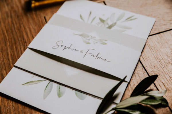 Faire-part mariage olivier nature blanc vert kraft champêtre
