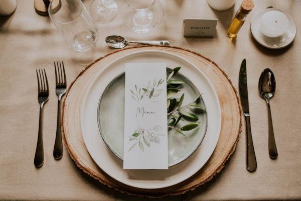 Menu individuel mariage olivier nature blanc vert kraft champêtre
