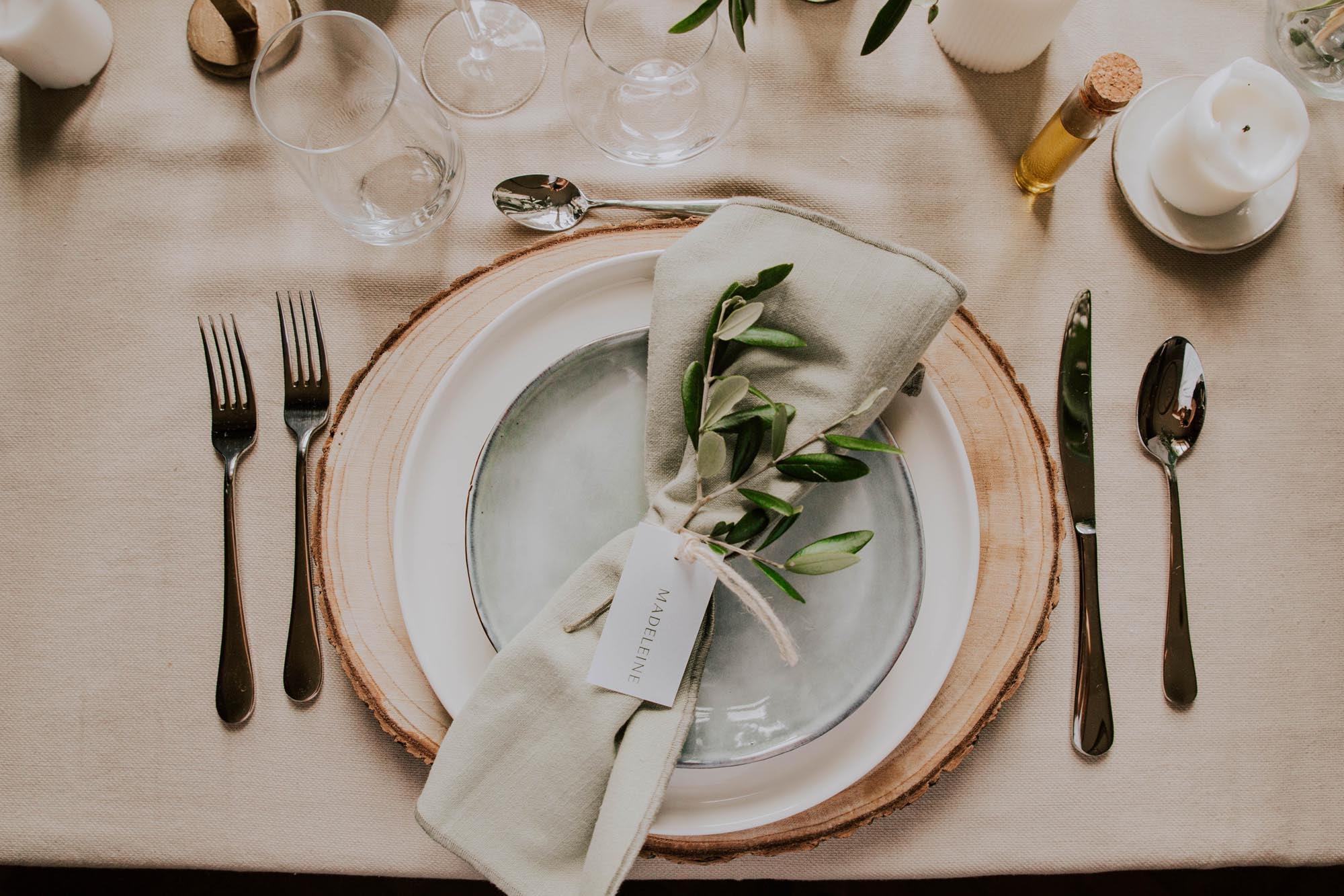 Étiquette nom mariage olivier nature blanc vert kraft champêtre
