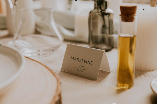 Marque-place mariage olivier nature blanc vert