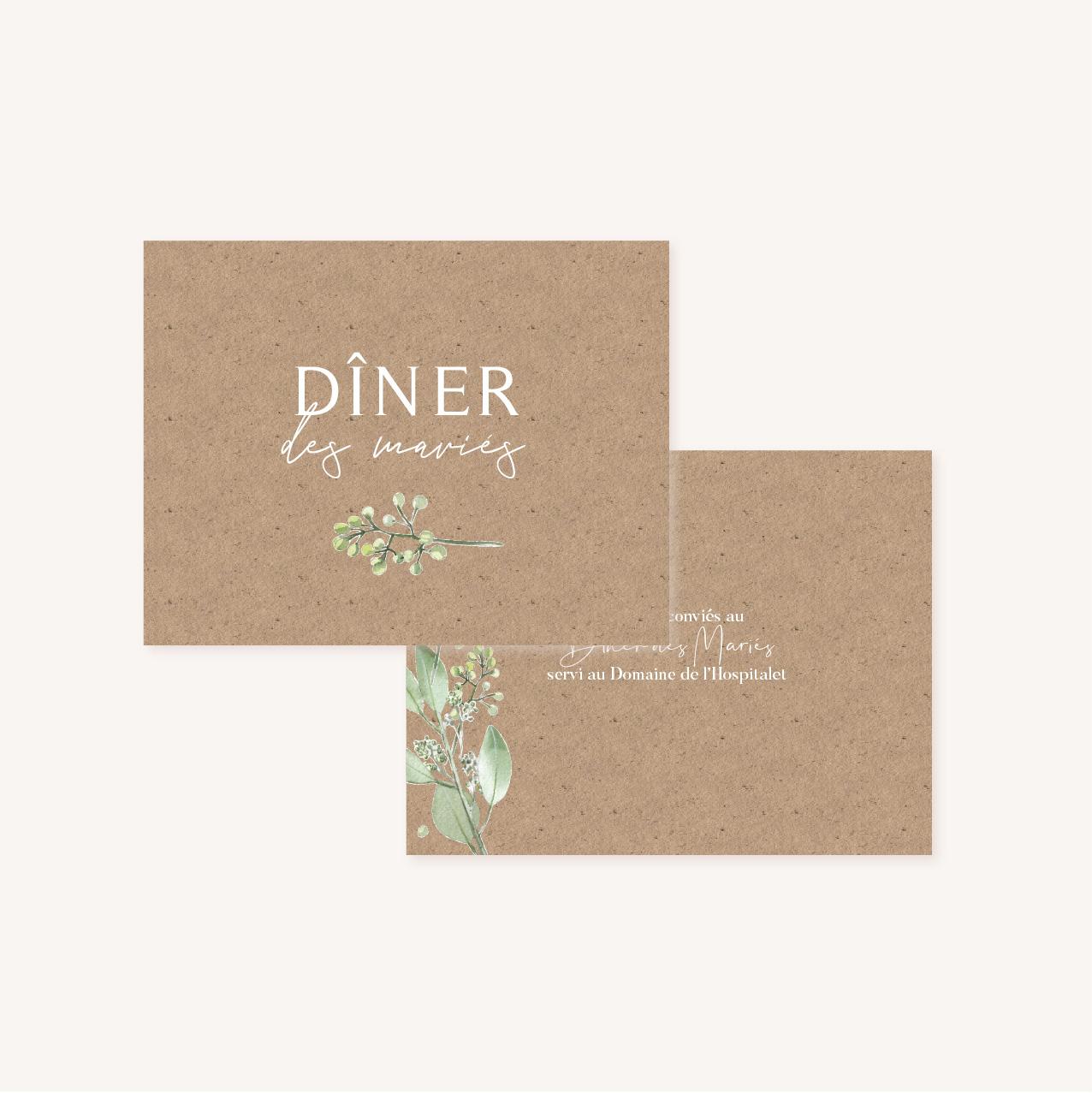 Dîner mariage olivier nature blanc vert kraft