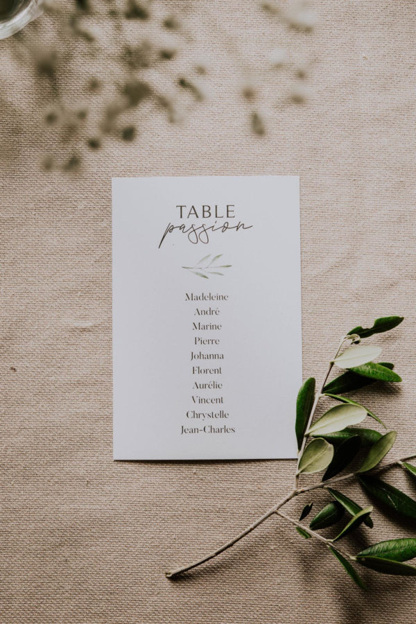 Plan de table mariage olivier nature blanc vert