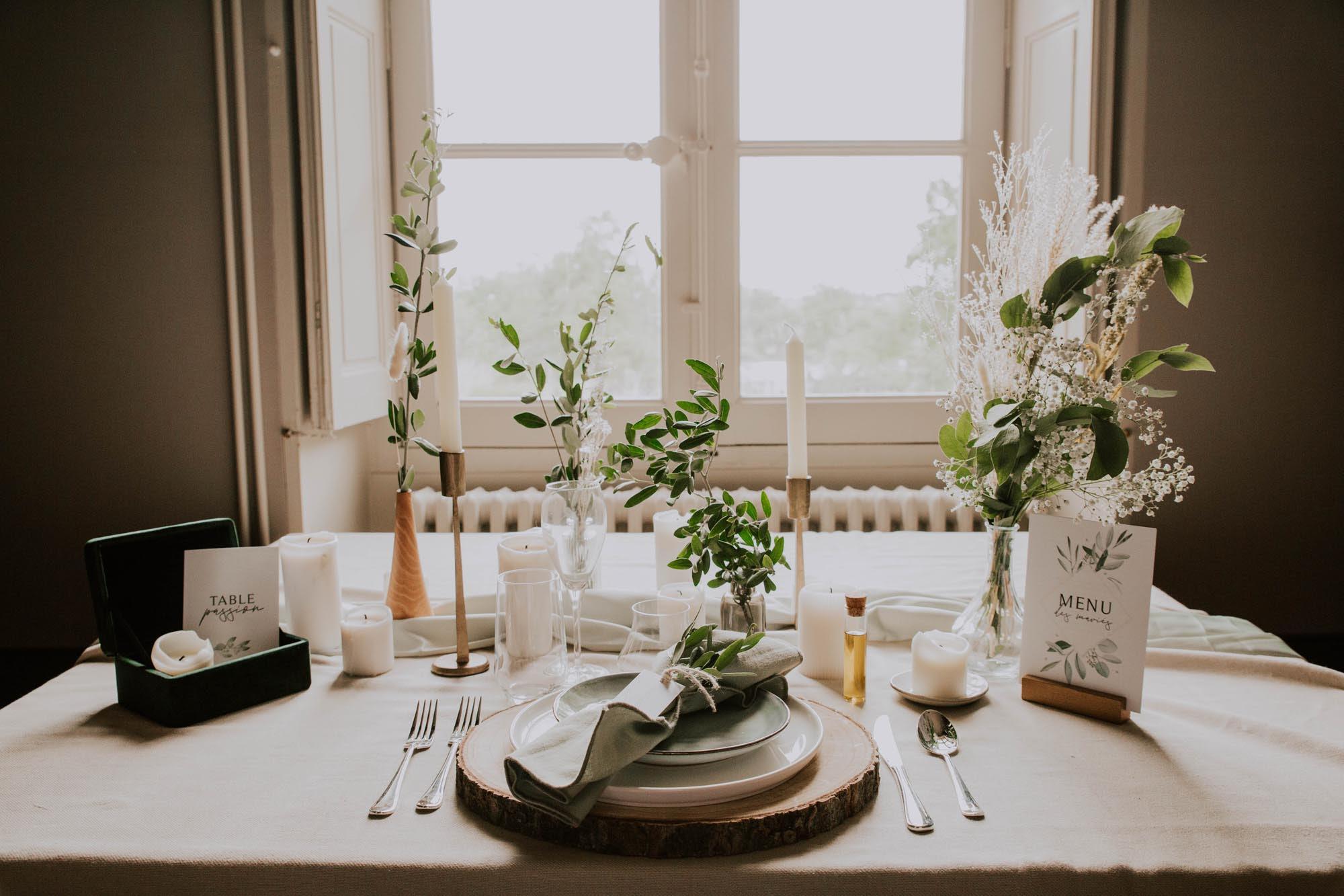 Papeterie mariage olivier nature blanc vert kraft champêtre