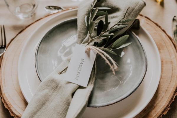 Étiquette nom olivier nature blanc vert kraft