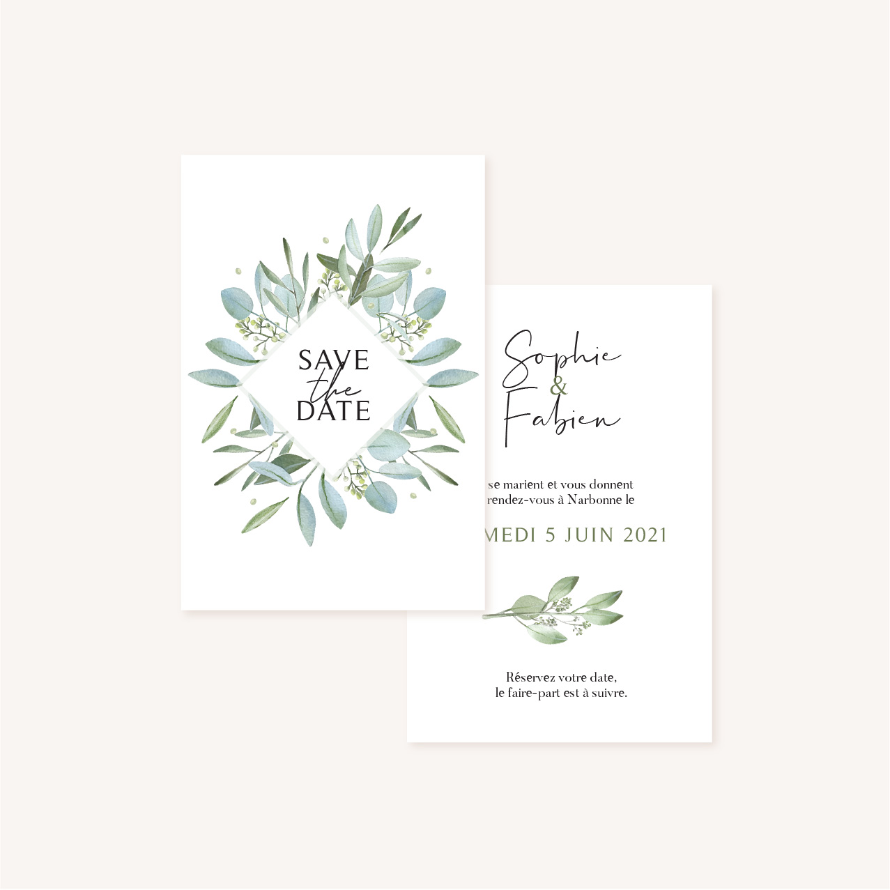 Save the date mariage olivier nature blanc vert kraft
