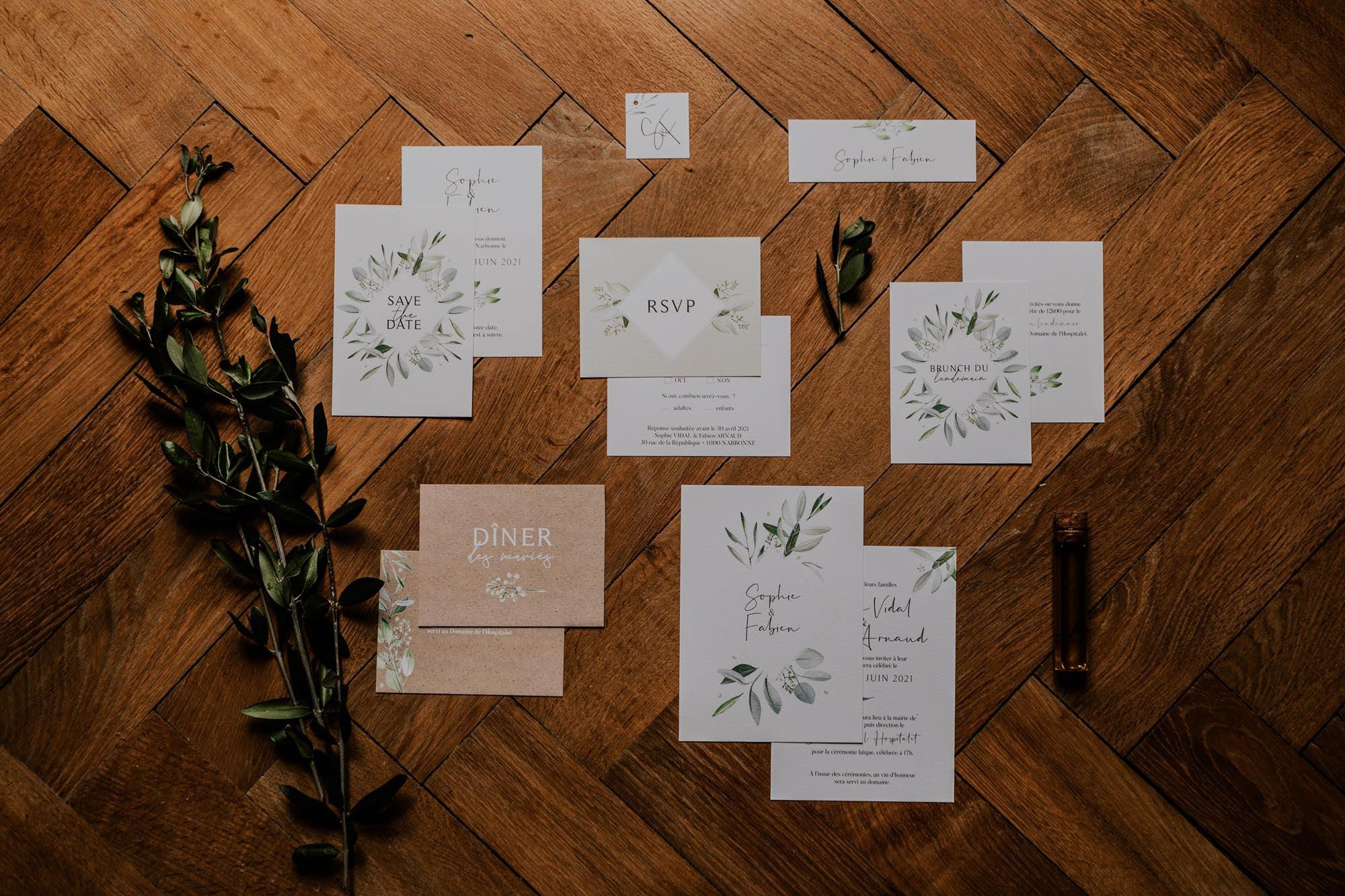 Papeterie faire-part mariage olivier nature blanc vert kraft champêtre