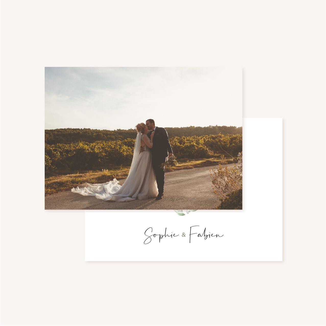 Remerciements mariage olivier nature blanc vert kraft