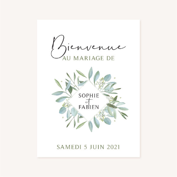Panneau accueil mariage olivier nature blanc vert