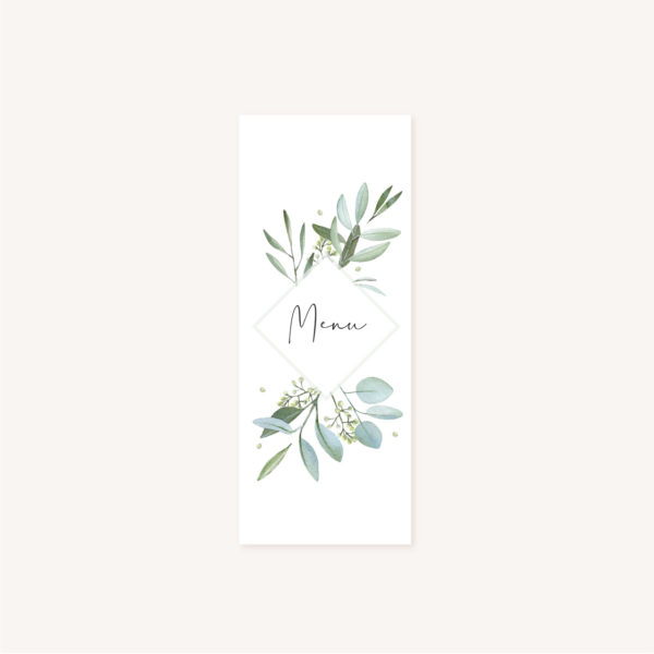 Menu individuel mariage olivier nature blanc vert