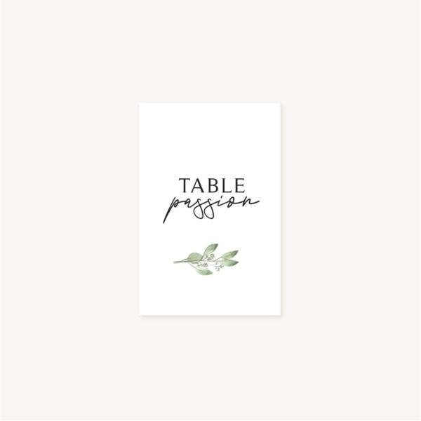Nom de table mariage olivier nature blanc vert