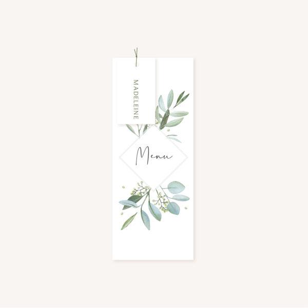 Menu individuel et étiquette nom mariage olivier nature blanc vert