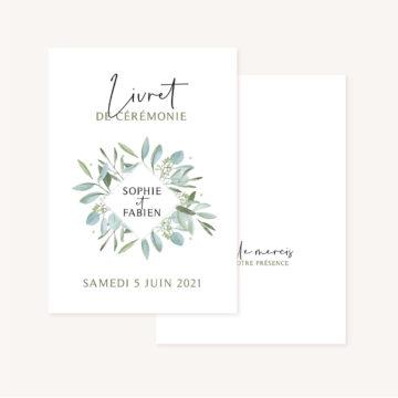 Livret de cérémonie mariage olivier nature blanc vert