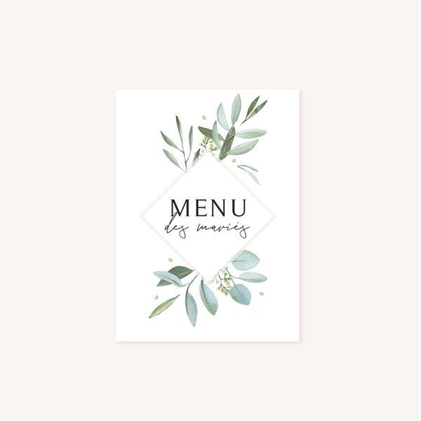Menu mariage olivier nature blanc vert