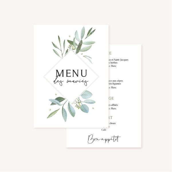 Faire-part mariage olivier nature blanc vert