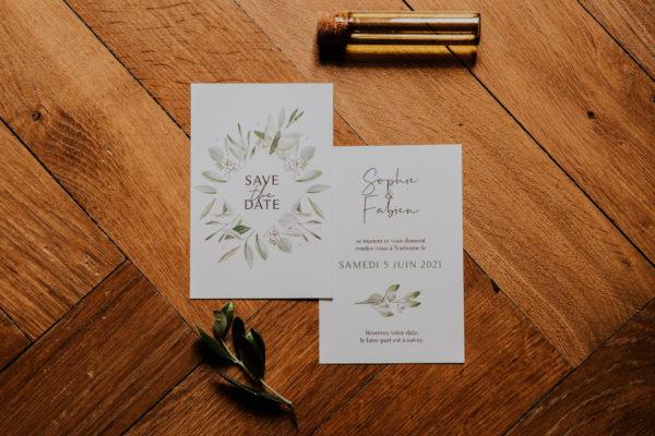 Save the date mariage olivier nature blanc vert kraft champêtre
